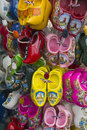 Display of wooden shoes for children Royalty Free Stock Photography