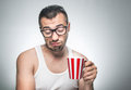 Displeased man with cup coffee Royalty Free Stock Photo