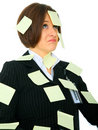 Displeased Woman Full Of Blank Post It Stock Images