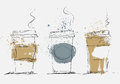 Disposable Coffee Cup, vector art sketched illustration