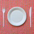 Disposable paper plate checkered cloth Stock Photography