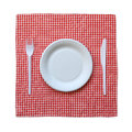 Disposable paper plate checkered cloth isolated white background Stock Photo