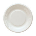 Disposable paper plate isolated on white with clipping path Royalty Free Stock Photo