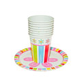 Disposable party dishware cups and plates Royalty Free Stock Photography