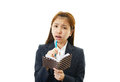Dissatisfied business woman portrait of looking uneasy Royalty Free Stock Photo