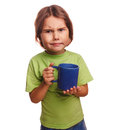 Dissatisfied little girl child frowns upset emotions isolated on white background Royalty Free Stock Photography