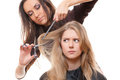 Dissatisfied model in hairdressing salon Royalty Free Stock Image