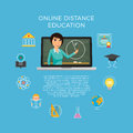 Distance education, learning. The student listens to the lecture