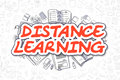 Distance Learning - Cartoon Red Word. Business Concept.