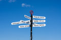 Distance signs pole with showing the locations in europe and to get there Royalty Free Stock Photography