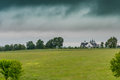Distant View of Horse Barn on Rainy Kentucky Day Royalty Free Stock Photo