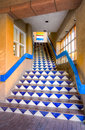 Distinctive blue tile mosaic stairwell downtown santa fe new mexico Stock Image