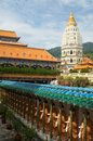 Distinctive pagoda rama vi kek lok si temple also know as supreme bliss which sits crane hill overlooking district ayer itam Royalty Free Stock Photos