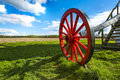 A distinctive red wheel of pitstone windmill hertfordshire uk grade ii listed in Stock Photography