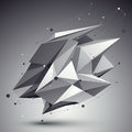 Distorted d abstract object with lines and dots over dark backg background Stock Photography