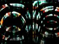 Distorted motion blur lights. Abstract neon lights glowing on the black background. Royalty Free Stock Photo