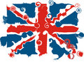 Distorted Union Jack - vector illustration Royalty Free Stock Photos