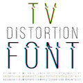 Distortion font tv thin three version with color aberration vector Stock Image