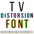 Distortion font tv three version with color aberration vector Stock Image