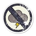 distressed sticker of a cute cartoon weather warning sign Royalty Free Stock Photo