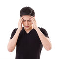 Distressed stressful man thinking suffering from headache symptoms or sickness Royalty Free Stock Photos