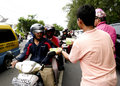 Distribute food hotel employees to the public when ramadan in the city of solo central java indonesia Stock Photography