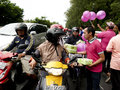 Distribute food hotel employees to the public when ramadan in the city of solo central java indonesia Stock Image