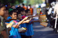 Distribute religious books islamic schools while welcoming ramadan in the city of solo central java indonesia Stock Images