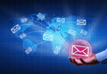 Distributing information digital world concept bubble radiating mail envelopes Stock Images