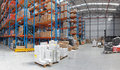 Distribution center centre with high rack shelving system Royalty Free Stock Image