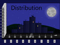 Distribution in the form of houses of the city at night Stock Photos
