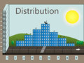 Distribution in the form of houses day city Stock Photos