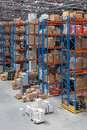 Distribution warehuse warehouse with high rack shelving system Stock Image