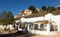 District with dwellings caves built into rock chinchilla de monte aragon province of albacete spain Stock Photography