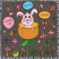 Disturb rabbit hello seamless pattern Royalty Free Stock Photo