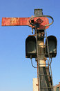 Disused railway signal stop green light on line Stock Photography