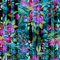 Ditsy flowers with checks and stripes. Seamless pattern. Royalty Free Stock Photo