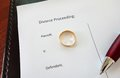 Div ring divorce document with gold wedding and pen Royalty Free Stock Photo