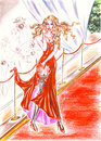 Diva broke heel and tore dress on the red carpet glamorous caught fence hand drawn watercolor Stock Photos