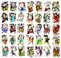 Divas in action combo collection of different activities and colors Royalty Free Stock Photography