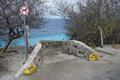 Dive site bonaire stairs to the steps on former netherlands antilles Royalty Free Stock Images