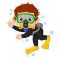 Diver boy cartoon Royalty Free Stock Photo