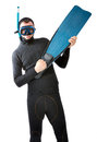 Diver with flipper indoor white background Royalty Free Stock Photo