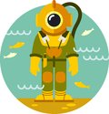 Diver in old diving suit man on underwater background Stock Photo
