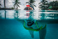 Diver, Palm forest,Barbados Royalty Free Stock Photo