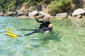 Diver rescue two scuba divers having fun on a course Royalty Free Stock Image