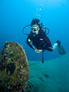 Diver and ship wreck Royalty Free Stock Photo