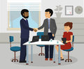 Diverse Business People handshaking after meeting.