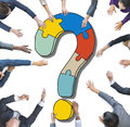Diverse Business People with Question Marks Royalty Free Stock Photo