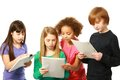 Diverse children reading group of kids scripts Stock Photo